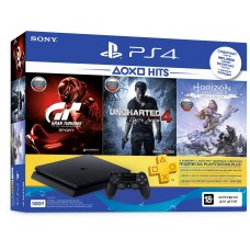 PlayStation 4 SLIM Bundle (500 Gb, Horizon Zero Dawn Complete Edition, Uncharted 4: Путь вора, Gran Turismo Sport, PSPlus 3 месяца), , Консоли